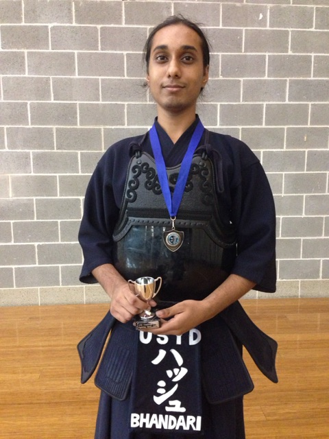 2nd Place in the Kyu division - Harshinder Bhandari (yes, that is a tiny trophy, Hash isn't a giant...)
